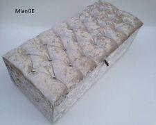 "Large 40"" Crushed Velvet Diamante & Matching Button Ottoman, Storage Blanket Box"