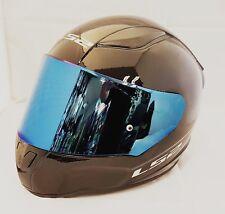 LS2 ff353 Rapid Casco Motocicleta Cara Completa Negro Brillante azules Iridio