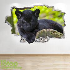 Noir Jaguar Autocollant Mural 3D Look - Chambre Salon Nature Z694