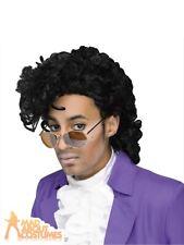 Prince Style 80s Curly Black Wig Purple Rain Fancy Dress Accessory
