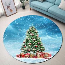 Winter Landscape Snowfall Christmas Tree Area Rugs Living Room Round Floor Mat