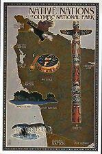 Native American Indians of Olympic National Park Washington, Modern Map Postcard