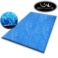 pas cher doux Tapis POILU 5cm bleu haute qualité NICE en Touche beaucoup taille