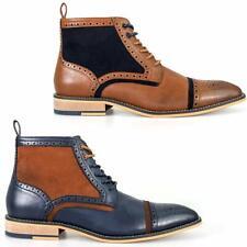 Mens Faux Leather Boots Smart Formal Brogue Combat Lace Ankle Fashion Boots Shoe