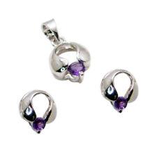 Resplendent Amethyst 925 Sterling Silver Purple Pendant Set Natural Exporter US