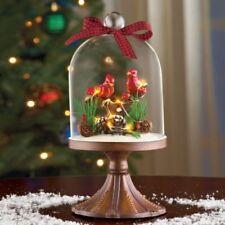 Lighted Winter Scene Glass Cloche Cardinals Birds Christmas Tabletop Decor