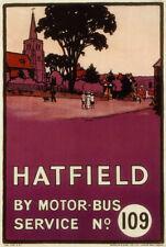 TX142 Vintage Hatfield By Motor Bus Hertfordshire Travel Poster A4