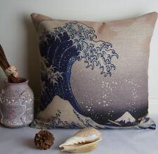Cotton Linen Cushion Cover Japanese Hokusai The Great Wave of Kanagawa