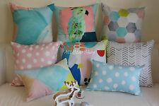 """Art Almond Pink Aqua Gray Home Decor Cotton CUSHION COVER Throw PILLOW CASE 18"""""""