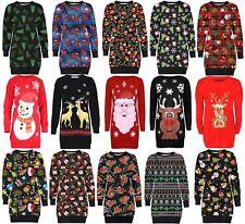Ladies Santa Reindeer Penguin Snowflakes Xmas Thermal Fleece Jumpers Tops 8-22