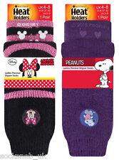 Heat Holders Ladies Minnie & Snoopy Thermal Non Slip Gripper Socks 4-8 Uk, 37-42