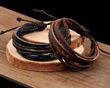 Men's/Women's: Unisex Genuine Leather & Rope Braided Adjustable Bracelet