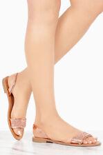 NEW Rhinestone Embellished Open Toe Slide Flat Sandal Shoe Slingback