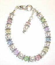 Baby Child Girl Mom Bracelet or Necklace Pastel Mix & Pearl Silver w/ Swarovski