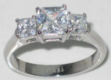 Three stone ring princess cut cz cubic zirconia stainless steel anniversary 058