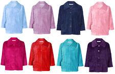 Slenderella Ladies Button Up Soft Fleece Bed Jacket Peter Pan Collar Housecoat