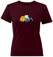 Finn Jake Napping Sleeping Cartoon Shirts Juniors Women Teen Tee T-Shirt Gift