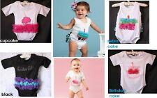 Baby Girl Infant Cotton Short Sleeve Summer tutu Bodysuit Size 6-24m 0/1/2