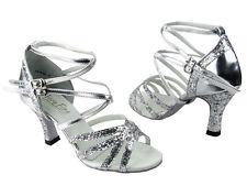 Latin Salsa Tango Very Fine Competitive Ballroom Dance Shoe Silver Sparkle