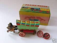 Vintage Handpainted Tin Wood Prairie Wagon Japan IOB