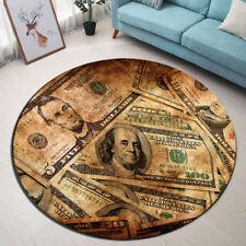 Retro Dollar Bill Floor Round Non-slip Bathroom Mat Rug Yoga Home Room Carpet