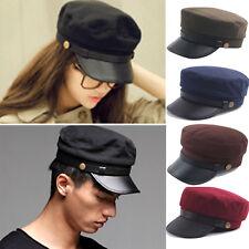 Men Women Vintage Military Hat Cap Army Cadet Patrol PU Flat Peaked Baseball Hat