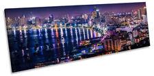 Pattaya Thailand Skyline City Framed PANORAMA CANVAS PRINT Wall Art