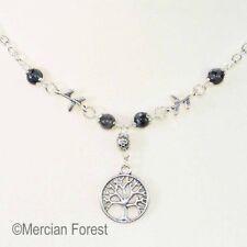Tree of Life Necklace - Larvikite - Pagan Jewellery Wicca Druid Black Moonstone