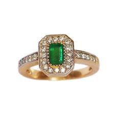 Genuine Emerald 6x4 Octagon Flawless AAA Diamond Ring in 14K Yellow Gold