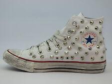 Converse all star Hi borchie scarpe donna uomo artigianali bianco optical white