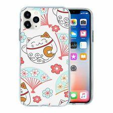Silicone Phone Case Back Cover Maneki neko Cat Pattern - S8435