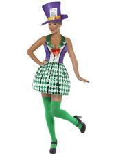 Costume Carnevale Donna Da Cappellaio Matto Vestito Abito Di Halloween Adulto