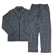71134edf8f Hanes Mens 2 Piece Gray Black Plaid Woven Shirt   Pants Pajama Sleep Set