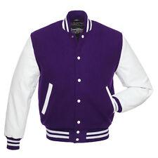 Stewart & Strauss Purple Wool and White Leather Varsity Letterman Jacket NEW
