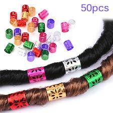 50pcs 1CM Dreadlock Bead Adjustable Women Hair Braid Rings Cuff Clips Tube MD