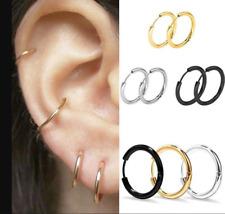 3Pairs/set 925 Sterling Silver Hinged Small Hoop Circle Ring Earrings Women/Men