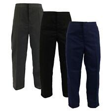 Boys STURDY WIDE Fit Half Elastic Waist Teflon Back to School Trousers 7-14 NEW