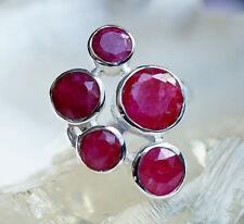 Handarbeit Ring 54 57 59 Groß Silber Silberring Modern Rubin Rot Facettiert