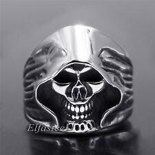 Men's Gothic Biker Vintage Grim Reaper Silver 316L Stainless Steel Skull Ring