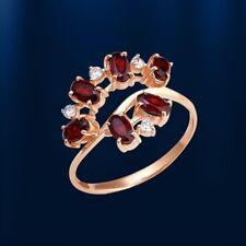 Russische Rose Rotgold 585 RING mit Granat und CZ ca. 3,09g. Neu Glänzend