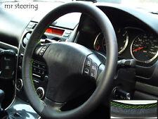 Para Mazda Premacy 99-04 Negro Cuero Italiano volante cubierta verde Stitch