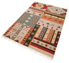 Teppich Schurwolle Terra Rot Beige Natur Muster handgewebt