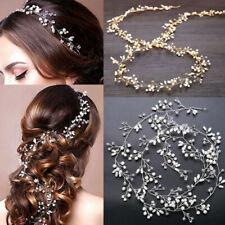 "59"" Long Wedding Hair Vine Crystal Pearl Headband Bridal Accessories Gold Silver"