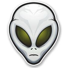 2 X Alien Gris pegatina de vinilo Ipad Laptop Auto Moto Casco X-files Ovni Regalo # 4702