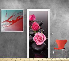 Sticker de porte trompe l'oeil déco Roses Galets réf 4883
