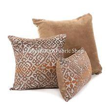 New Soft Metallic Tones Brown Bronze Medallion Geometric Pattern Fabric Cushion