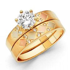14k Tri-Tone Gold Wedding Band Bridal Solitaire Geometric Engagement Set Ring