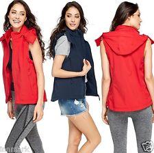 806 femmes imperméable à capuche zippée sur le devant gilet amovible à capuche dos bleu marine rouge