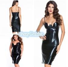 Womens Black Vinyl Wet Look Strappy Sleeveless Dress Club-wear Size 6-20 AU