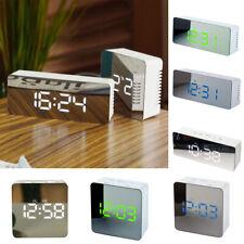 Travel Desktop Digital Thermometer LED Night Light USB Mirror Alarm Clock